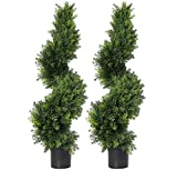 3 ft Artificial cypress spiral topiary trees Topiary Trees Artificial Plants Green Spiral Cypress Tree Fake Plant Swirl Topiaries decoration Indoor or Outdoor,35 Inch Spiral Tree-2 Pack