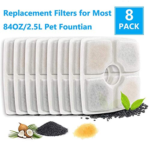 Cat Water Fountain Filter,Cat Fountain Filter,Pet Fountain Filters for Cat and Dog Drinking Flower Fountain, Cat Water Fountain Dog Water Dispenser, Square Filters