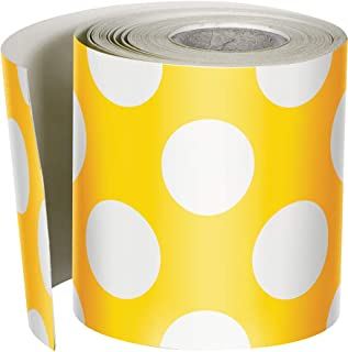 Schoolgirl Style Rolled Straight Borders, Yellow with Polka Dots (108329)