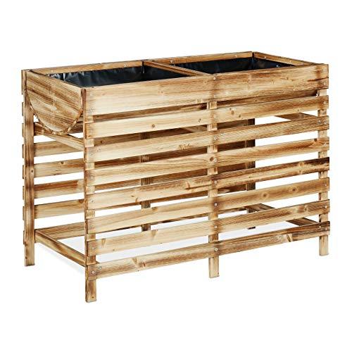 Relaxdays Hochbeet Holz, Balkon,...