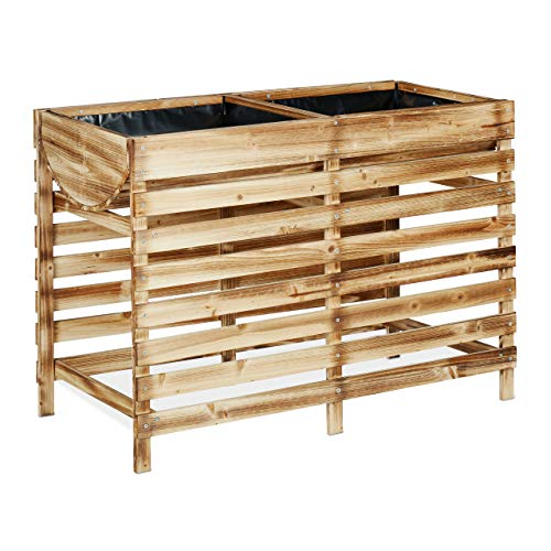 Relaxdays Hochbeet Holz, Balkon, Terrasse & Garten, inkl. Folie, Kräuterhochbeet auf Stelzen, HBT 71x100x50 cm, geflammt