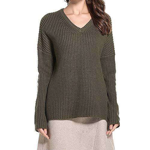 N\P Suéter Jersey Jersey Jersey Grande Mujer Cuello en V Manga Larga Suéter de Punto