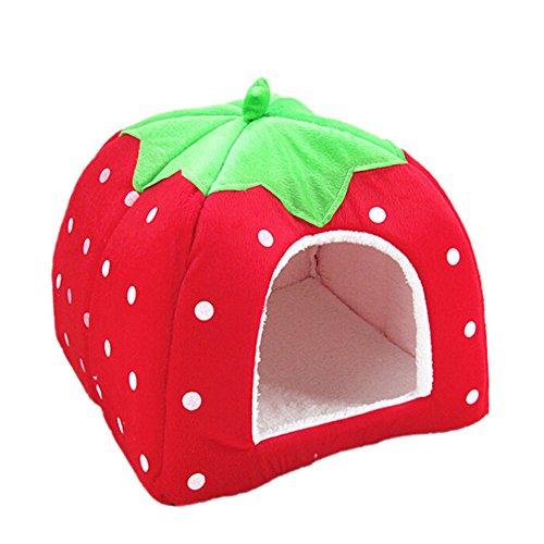 Greenlans Erdbeer-Haustierbett, für Hunde und Katzen, warm, weich, Kissen