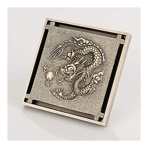 Handheld Dragón de bronce antiguo Patrón de drenaje de arte tallado Rejillas de desechos de baño Astilla invisible Escurridor de ducha Drenaje de piso Para el baño