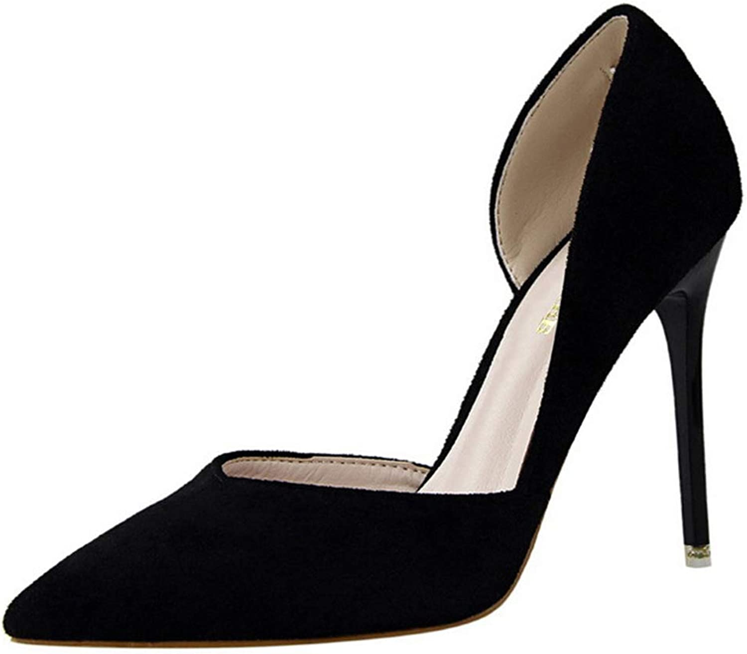 Drew Toby Women Pumps Side Cut-Outs Office Fashion Shallow Suede Pointed Toe High Heels