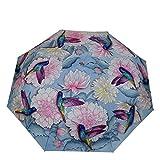 ANUSCHKA Damen Regenschirm mit Auf/Zu Automatik, UPF 50+ Max Sonnenschutz, 96cm Wasserdichter Regenschutz, Passt in die Handtasche, Flexibles Fiberglas, Einheitsgröße, Rainbow Birds