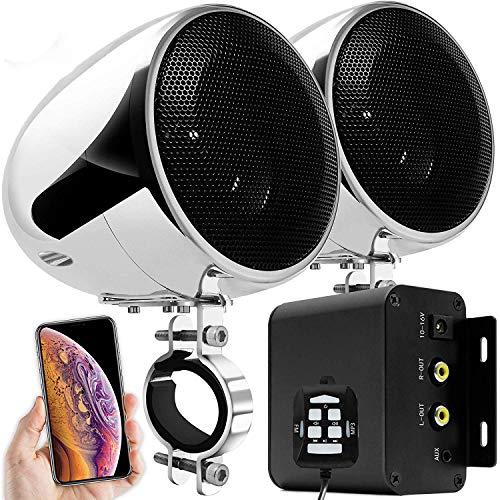 Aileap M150 Sistema de Audio con Amplificador de Motocicleta con AUX, MP3, Radio FM, 4 Pulgadas de Altavoces estéreo Bluetooth Impermeables para Motocicletas ATV UTV RZR (Cromo, Red)