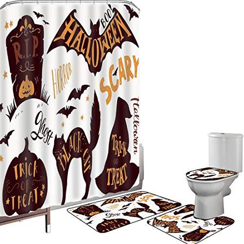 Juego de cortinas baño Accesorios baño alfombras Halloween vintage Alfombrilla baño Alfombra contorno Cubierta del inodoro Símbolos de Halloween Truco o trato Bat Tombstone Ghost Candy Scary Decorativ
