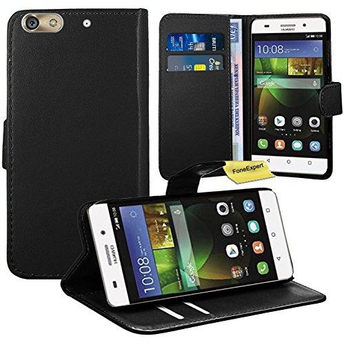 Huawei G Play Mini / Honor 4C Handy Tasche, FoneExpert® Wallet Hülle Flip Cover Hüllen Etui Ledertasche Lederhülle Premium Schutzhülle für Huawei G Play Mini / Honor 4C (Schwarz)