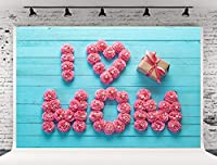 7x5フィート (220W x150H cm) ブルーウッド 壁 ピンク 花 写真 背景 I Love MOM ギフト 花 背景 母の日 写真