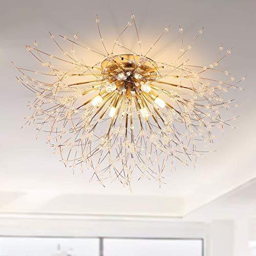 Modern Crystal Chandelier Flush Mount, 6-Lights Gold Crystal Sputnik Firework Close to Ceiling Lamp LED Ceiling Lighting Fixtures for Living Room Bedroom Dining Room Girls Room