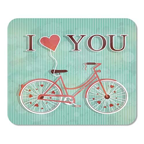 Mousepad Computer Notepad Office Glücklicher Valentinstag Nette romantische Frau Fahrrad fliegendes Herz Home School Game Player Computer Worker