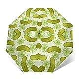 自動三つ折り傘日焼け止め防風UVディルピクルス緑雨傘男性女性のための壊れにくいコンパクトな折りたたみ傘