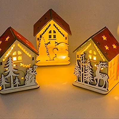 String Lights LEEDY Clearance Sale! LED Light Wood House Cute Christmas Tree Hanging Ornaments Holiday Decoration Atmosphere Decoration 1PC