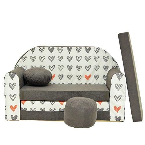 A45 Kindersofa Kinder Sofa Couch Schlafsofa Kinderzimmer Bett gemütlich (grau Herzen)