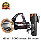 Headlamp,Brightest 6000 Lumen Flashlight searchlight ,Best 18000mAh Work Light,Rechargeable LED Headlamp,Hard hat Waterproof Spotlight ,Camping,Hiking,Mining,Outdoors Hunting