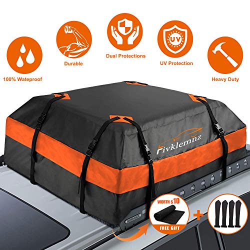 Soft Shell Luggage Storage Bag for Vehicles with//Without Roof Racks Rabbitgoo Rooftop Cargo Carrier Waterproof Car Roof Top Cargo Bag with Heavy Duty Straps Large Capacity 15 Cubic Feet