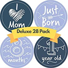 JubyJoy Baby Boy Milestone Stickers - 28 Monthly Photo Picture Props for Infant, 1st Year Birth Month Onesie Belly Decals - Best Registry Shower Gift for New Moms