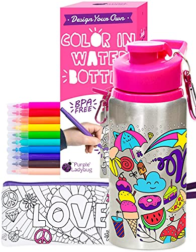 Purple Ladybug Color Your Own Water Bottle for Girls Craft Kit with 10 Bright Markers, Rhinestone Gem Stickers & a Bonus Pencil Case - BPA Free, Kids Water Bottle - Great Gift for Girl & Fun Activity