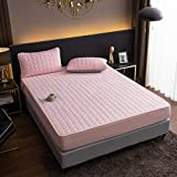 FJMLAY Sábanas de Cama Transpirable,Sábanas Ajustadas Acolchadas Cepilladas, Alfombrilla De Protección Antideslizante para Dormitorio Apartamento Hotel-Pink_4_180cmx220cm