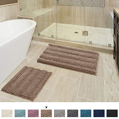 Extra Absorbent Thick Striped Bathroom Rugs, Soft Fluffy Microfiber Shag Floor Mats for Living Room,...