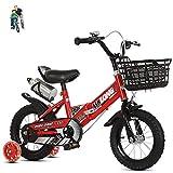 niños Bicicletas Bicicletas para Las niñas12-14-16-18inch Plegable bike3-4-5-6-7-8-9-10-11-12year Bicicleta de Edad con Ruedas de Entrenamiento y Asiento Trasero Rojo Blanco Azul
