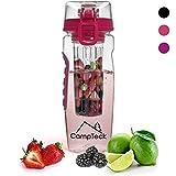 CampTeck 1 Liter 1000ml Trinkflasche Fruchtschorlen Infuser Wasserflasche (BPA-freier Tritan Kunststoff) mit auslaufsicherem Deckel + Verschluss & Tragehenkel - Pink