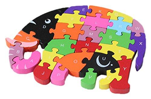 Bigood Jouet Bébé Enfant Puzzle en Bois Alphabet Chiffre Cognition Eléphant Graisse Réveil