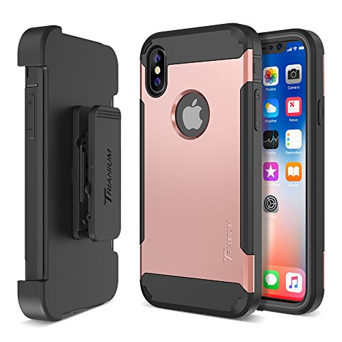 Trianium Duranium Holster Case Compatible with iPhone Xs & iPhone X Case (5.8  Phone ONLY) [Heavy Duty Full-Body Protection] Built-in Screen Protector Belt Clip Holder with Kickstand - Rose Gold