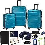 Samsonite 68311-2479 Omni Hardside Luggage Nested Spinner Set 20 Inch, 24 Inch, 28 Inch - Caribbean Blue Bundle w/Deco Gear Luggage Accessory Kit (10 Item)