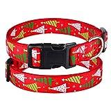 fafagogo2216gogo Collare di Cane di Natale Collare per Cani di Natale per Cani di Taglia Piccola, di Taglia Media Cucciolo di Animale Regolabile Nylon Rosso S-XL, Rosso, S 26-38 Cm