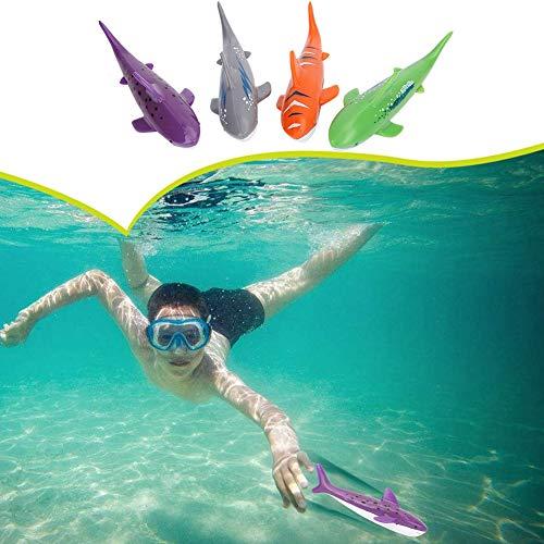Alomejor Schwimmbad Shark Modell Tauchen Spielzeug Wasser schwimmende Modell Training 4 Stücke Kinder