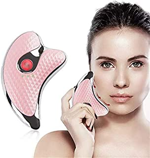 Skin Massager,Rechargeable Microcurrent Firming Machine Anti-aging Face Lift Galvanic GuaSha Scraping Massager Tools (Pink)