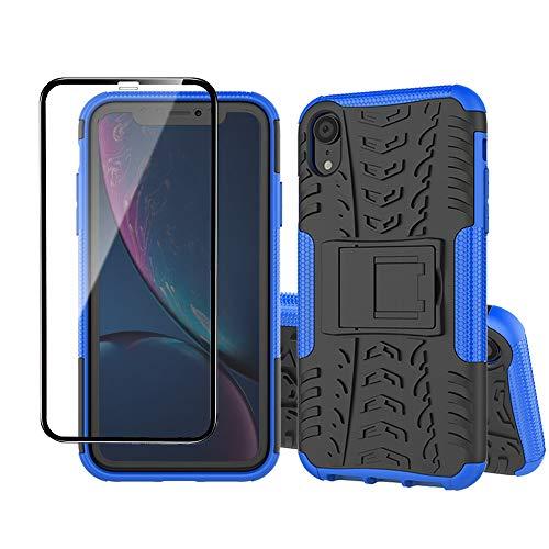 Yiakeng Coque pour Apple iPhone XR et Verre Trempé D'écran Protecteur, Silicone Antichoc Full Protection avec béquille pour Apple iPhone XR (Bleu)