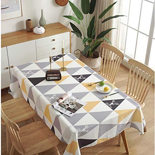 LMDY Decoración para el hogar Mantel Moderno Triángulo geométrico Simple Impreso Cubierta Toalla Color Rectángulo Hogar Mesa de Comedor Cubierta de Tela Amarillo 120 * 120 cm