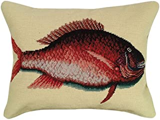 Deluxe Pillows Porgy Fish 16 x 20 inches needlepoint pillow-Licensed by Colonial Williamsburg