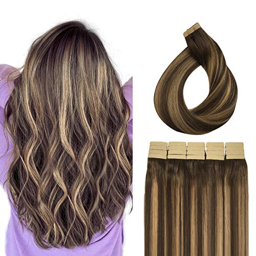 Doores 50g Human Hair Extensions Tape in Remy Ombre Chocolate Brown to Caramel Blonde Silky Straight Tape in Hair Extensions Natural Hair Extensions Real Hair 20pcs 16 Inch