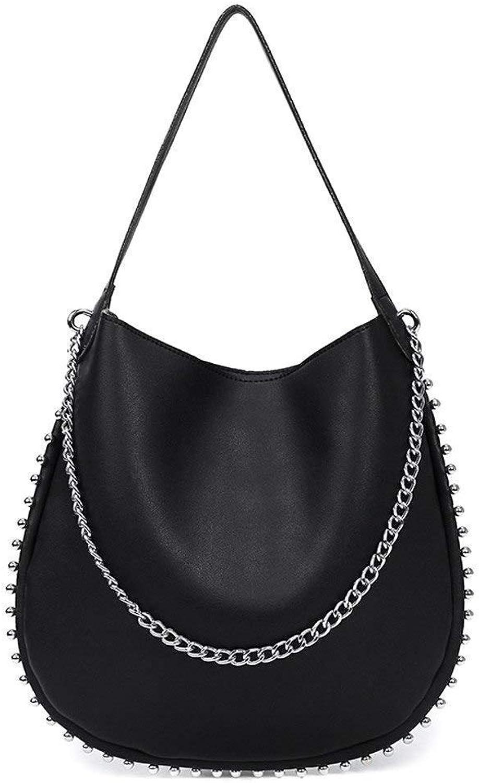 Bloomerang Aelicy Fashion Female Shoulder Bag Vintage Rivet Handbag Women Famous Brands Designer Large Bag High Quality Ladies Handbag Tote color Black