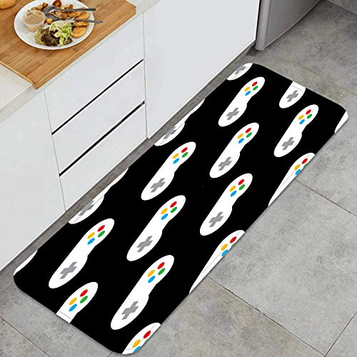 Alfombra de Cocina Antideslizante,Controladores de Videojuegos Retro en una repetición,Estera de Cocina Felpudos Decorativo Alfombra para Dormitorio Baño Pasillo 45 x 120cm