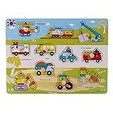 Isuper Puzzle in Legno Peg per Bambini Imparare in età prescolare Sviluppo educativo precoce Puzzle in Legno colorato Peg Jigsaw in Inglese (1pc)