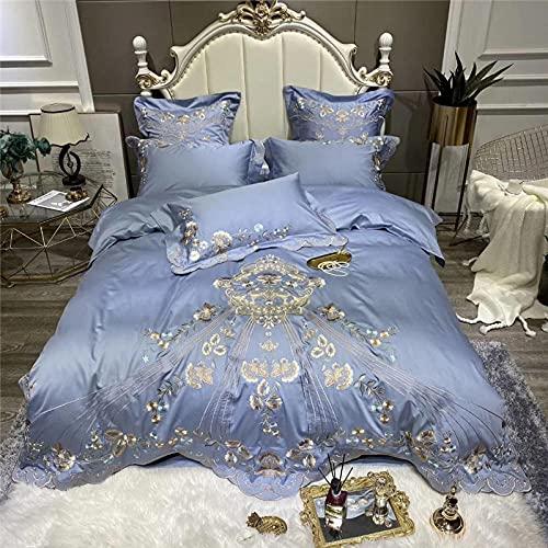Set Copripiumino Da Letto A Righe In Satin,Luxus Blau Weiß Rot 1000tc äGyptischer Baumwole BettwäSche Set Gold Blumen Stickerei Bettbezug Bett Leinen Ausgestattet Blatt Kissen-5._2,0 M Letto (4pcs)