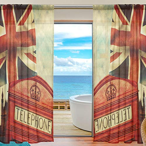 Alarge Fenster-Vorhang London Big Ben Union Jack Flagge, Voile-Vorhang, Dekor, Küche, Wohnzimmer, Schlafzimmer,...