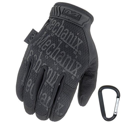 Mechanix WEAR ORIGINAL Einsatz-Handschuhe, atmungsaktiv & abriebfest + Gear-Karabiner, Original Glove in Schwarz, Coyote, Multicam/Größe S, M, L, XL (M, Schwarz/Covert)