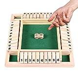 Juego de Mesa de Madera,Juego de Mesa Clásico,Juego de Mesa de Madera de Cuatro Caras,Juego de Matemáticas Familiar para Niños,Juego de Mesa de Cuatro Caras,Juego de Mesa de Madera dados (verde)