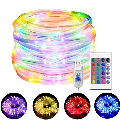 HMCC Fairy Rope String Lights 10m LED USB Powered 16 Multi Colors Changing Strip Lighting with Remote Control for Indoor Party Outdoor Garden Christmas Decorations