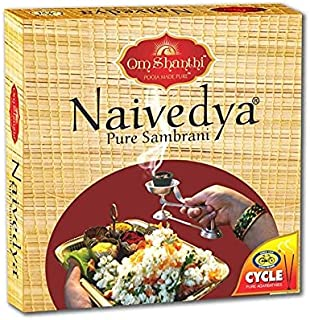 Cycle Naivedya Sambrani /dhoopam with Resin, Benzoin Fragrances - Pack of 4 (12 Cups per Pack)
