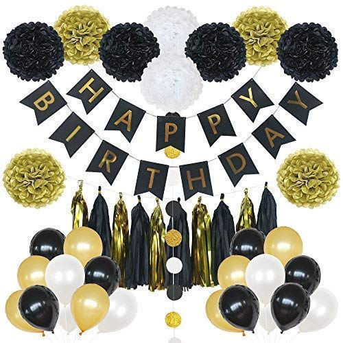 Lily Peony 85 Pieces Black And Gold Party Decorations Includes Happy Birthday Banner