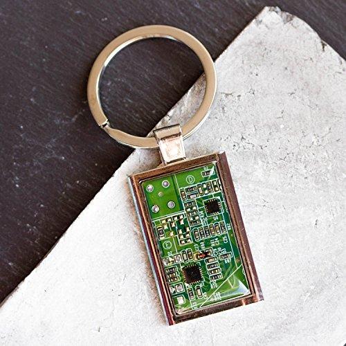 Recycled Shaltungsplatine (circuit board) Schlüsselanhänger, rechteckig Grün