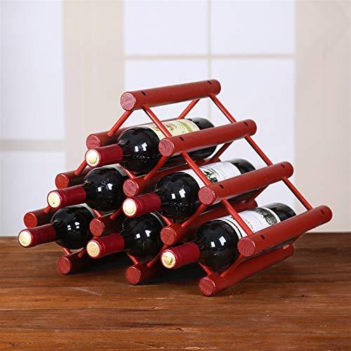 Triángulo de encimera Bambú Rack de vinos - Libre de pie Elegante y Moderno, 6 Botellas de Las Ranuras de Almacenamiento de vinos de Escritorio 43.5x26x30cm