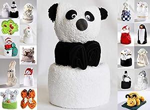 JACK Frottier Geschenk Set viele Modelle Handarbeit Origami Gästetuch Handtuch Waschhandschuh, Motiv/Art:Pandabär